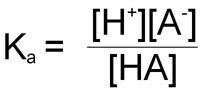 Equation for calculation of association constant, Ka